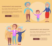 Grandparents and Grandson Little and Grown up Set. Of web posters. Senior couple walking with grandchild boy holding hands vector illustrations Royalty Free Stock Image
