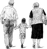 Grandparents and grandson. Vector drawing of the walking elderly couple with their grandson Royalty Free Stock Images
