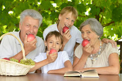 Grandparents and  grandsons with apples Stock Image