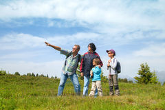 Grandparents with grandsons on country hike Stock Image