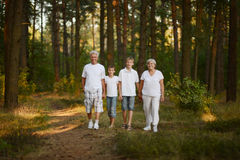 Grandparents and grandsons in forest Royalty Free Stock Photos