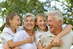Grandparents with grandsons having fun Royalty Free Stock Image