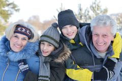 Grandparents with gransons outdoors Royalty Free Stock Photo