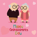 Grandparents. Happy grandparents day text with abstract grandparents characters on special pink background royalty free illustration