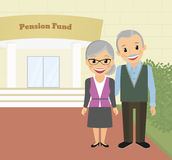 Grandparents. Happy grandparents standing near pension fund. Vector illustration Royalty Free Stock Images