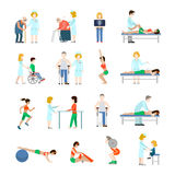 Grandparents healthy lifestyle rehabilitation flat vector set Stock Image