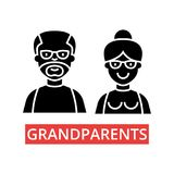 Grandparents illustration, thin line icons, linear flat signs, vector symbols  Royalty Free Stock Images