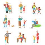 Grandparents And Kids Spending Time Together Set Of Illustrations Stock Photos