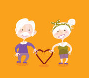 Grandparents in love. Grandmother and grandfather in love. Vintage  illustraiton Royalty Free Stock Image
