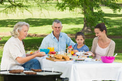 Grandparents mother and daughter having lunch in lawn Royalty Free Stock Image