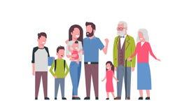 Grandparents parents children grandchildren, multi generation family, full length avatar on white background, happy. Family together concept, tree of genus flat Stock Image