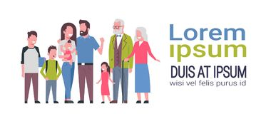 Grandparents parents children, multi generation family, full length avatar on white background, happy family together. Concept, tree of genus flat cartoon copy Royalty Free Stock Images