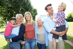 Grandparents, parents and children taking a walk Royalty Free Stock Image