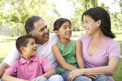 Grandparents In Park With Grandchildren. Smiling Together stock images