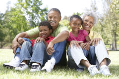 Grandparents In Park With Grandchildren. Smiling To Camera stock photo