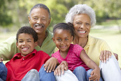 Grandparents In Park With Grandchildren Royalty Free Stock Image