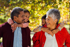Grandparents piggybacking grandchildren at park Stock Photo