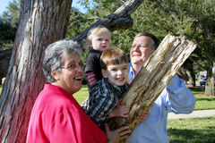 Grandparents playing with grandchildren Stock Images