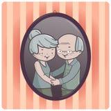 Grandparents portrait vector illustration