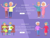 Grandparents Poster with Senior Lady and Gentleman. Grandparents web posters with senior lady and gentleman with stick walk together holding hands and sitting at Royalty Free Stock Photography