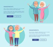 Grandparents Posters Senior Couples Waving Hands Royalty Free Stock Images