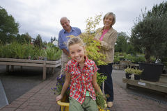 Grandparents pushing granddaughter (7-9) on trolley in garden centre, smiling, portrait Royalty Free Stock Photography