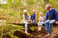 Grandparents sitting with grandkids on a bridge in a forest Stock Photo