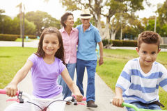 Grandparents Taking Grandchildren To Ride Bikes In Park Stock Photo