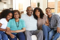Grandparents with teen and young adult grandchildren sitting at home smiling to camera royalty free stock photos