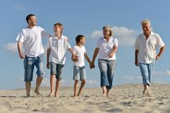 Portrait of grandparents with their grandchildren are walking on the sand royalty free stock photography