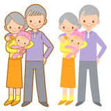 Grandparents and their granddaughter. Home and Family Character Stock Photo