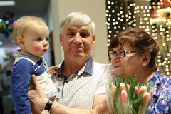 Grandparents with their grandson Royalty Free Stock Photography