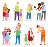 Grandparents vector family together grandfather or grandmother with grandchildren illustration set of elderly people royalty free illustration