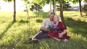 Grandparents 80 years old sitting on grass in Park stock footage
