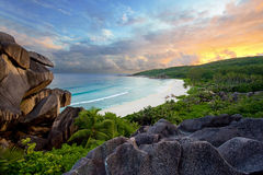 Grands anse beach sunset. A high view point of grande anse beach at sunset on the island of la digue in the seychelles Stock Images