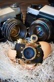 Grands appareils-photo de SLR de concept et petit contrat comme parents et bébé Image libre de droits