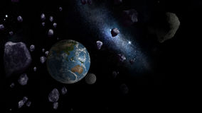 Grands asteroïdes approchant la terre illustration libre de droits