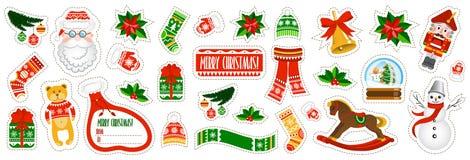 Grands autocollants de Noël réglés sur le fond blanc illustration stock