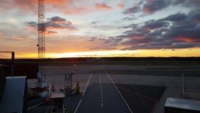 Grands avions décollant pendant le coucher du soleil de crépuscule Beaux milieux clips vidéos