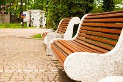 Grands bancs concrets avec les éléments en bois Près de l'allée en parc Été dans la cour Arbre dans le domaine photographie stock