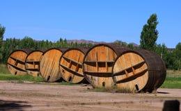 Grands barils de vin rouge. image libre de droits