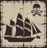 Grands bateau et crâne au-dessus de vieux papier Images libres de droits