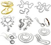 Grands bijoux réglés - fond blanc Image stock
