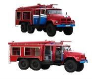 Grands camions de pompiers rouges d'isolement sur le blanc Photographie stock libre de droits