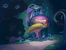 Grands champignons magiques colorés Photos stock