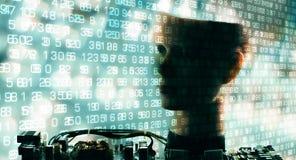 Grands chiffres de données, communication de robot d'AI Images stock