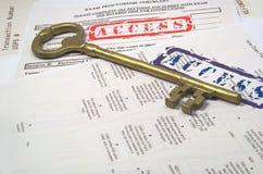 Grands clé et accès Images stock
