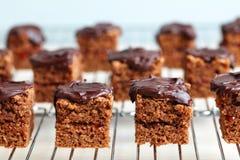 Grands dos de gâteau de chocolat sur une armoire de refroidissement Photographie stock