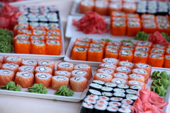Grands ensembles de sushi Photo libre de droits