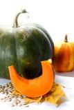 Grands et petits potirons de thanksgiving avec la tranche et graines sur des feuilles d'automne Image libre de droits